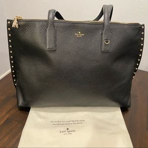 Kate Spade On Purpose Studded Leather Tote, Black